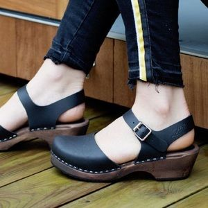 Lotta From Stockholm Low Wood Leather Clogs